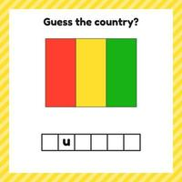 Worksheet on geography for preschool and school kids. Crossword. Guinea flag. Cuess the country. vector