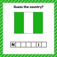 Worksheet on geography for preschool and school kids. Crossword. Nigeria flag. Cuess the country. vector