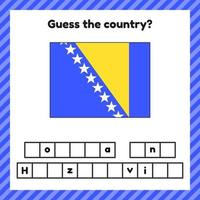 Worksheet on geography for preschool and school kids. Crossword. Bosnia and Herzegovina flag. Cuess the country. vector