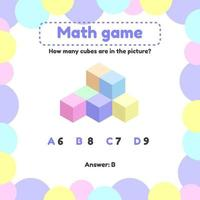Vector illustration. Mathematical logic game for preschool and school age children. How many cubes in the picture