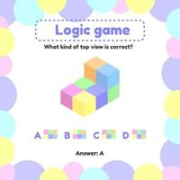 ilustración vectorial. juego de lógica para niños en edad preescolar y escolar. cuál es la vista desde la parte superior derecha vector