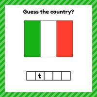 Worksheet on geography for preschool and school kids. Crossword. Italy flag. Cuess the country. vector