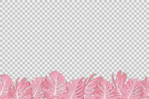 Vector illustration. Exotic tropical pink plant. Monstera leaves on a transparent background. Seamless pattern