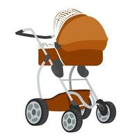 Vector colorful illustration of brown colored baby stroller in modern style, isolated on white background.