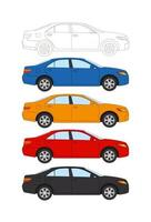 Set of cars, vector thin line style