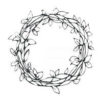 Vector black and white illustration of vintage decorative laurel wreath, isolated on white background. Can be used for invitations, greeting cards, quotes, blogs, posters and banner.