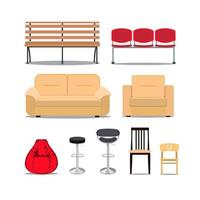 Icon set of modern furniture chair and sofa . Vector. Illustration vector