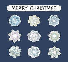 Vector modern colorful Christmas set with illustrations of snowflakes, sticker pack. Use it as elements for design greeting cards , poster, card, packaging paper design