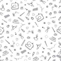Vector seamless pattern with sewing and tailoring stuff. Sewing machine, scissors, sewing and other handicrafts items.
