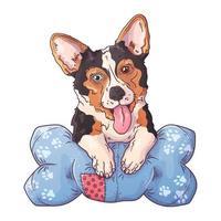 Vector portrait of a cute corgi dog on the pillow.