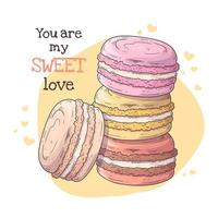 Vector hand drawn illustrations. Realistic french dessert - macaroons.