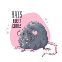 Vector hand drawn illustrations. Cute realistic rat.