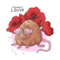 Vector hand drawn illustrations. Cute realistic rat with flowers.