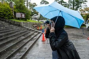 A femla tourist in Nikko making photos in the rain