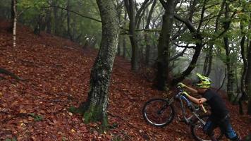 een man duwt zijn mountainbike terwijl hij in een bos rijdt. video