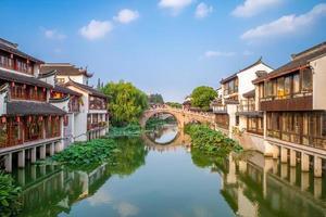 paisaje del casco antiguo de qibao en shanghai, china foto