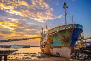 Abandoned broken ship at Zhuwei Fish Harbor photo