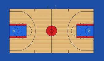 Ilustración de vector de cancha de baloncesto con marcas nba y ncaa