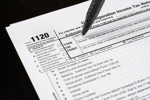 Form 1120 U.S. Corporation Income Tax Return. United States Tax forms. American blank tax forms. Tax time. photo
