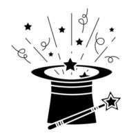 Black magic hat with wand sticks and stars. Magical performance template. A magical icon in glyph style, isolated on white background. Vector