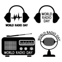 World radio day. Set of vector emblems, labels, badges and logos in glyph style. Radio, microphone, headphone objects isolated on white background. Vector