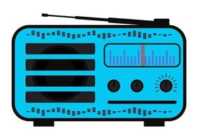 Color radio station. Radio in purple color with antenna, scale. Receiver station. Vector