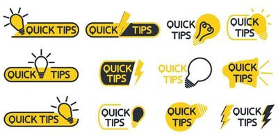 Quick tips. Yellow lightbulb icon with quicks tip text. Helpful idea, solution and trick illustration. Abstract banners with useful information, idea or advice with light bulb. Vector