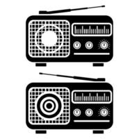 Radio. Set of two radio in glyph style. Flat simple icon vector
