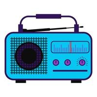 Color radio station. Radio in purple color with antenna, scale. Vector