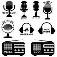 conjunto de señales de radio, auriculares y micrófono en línea. letreros o plantillas de logotipos. radiofrecuencia y símbolos en el aire. colecciones de símbolos para radiodifusión. vector