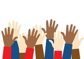 Stop racism icon. Black lives matter concept. Raised up hands of people with different skin colors. Justice and no racism concept.  Template for background, banner, poster with text vector