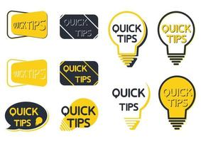 Quick tip icon set. Yellow lightbulb icons with quick tips text inside. Lamp of advice idea quickly solutions advices trick mark. Helpful tricks. Helpful idea or solution. Vector