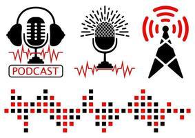 conjuntos de ilustración de icono de radio de podcast. torre de transmisión, radiofrecuencia y micrófono con auriculares. micrófono de podcast, carteles o plantillas de logotipo. en los símbolos del aire. vector
