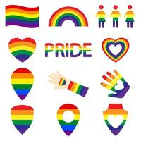 LGBT color icons set gay, lesbian, rainbow, heart, map location, free love, flag, hand, support, stop homophobia, LGBT rights, pride day. Modern vector illustration
