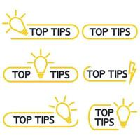 Top tips, helpful tricks outline icon set. Helpful idea, solution and trick illustration with light bulb. Editable stroke. Quick tip icon set. Vector illustration