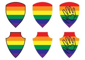LGBT color shields. Collection of shields for protecting lesbian, gay, bisexual, transgender. Rainbow colored, protection icons. Gay Pride. Vector
