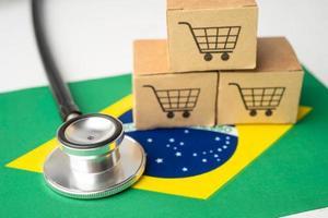 Shopping cart logo with Brazil flag, Shopping online Import Export eCommerce finance business concept. flag, Shopping online Import Export eCommerce finance business concept. photo