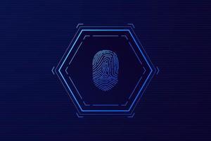 escaneo de huellas dactilares, seguridad cibernética y control de contraseñas a través de huellas dactilares, acceso con identificación biométrica vector