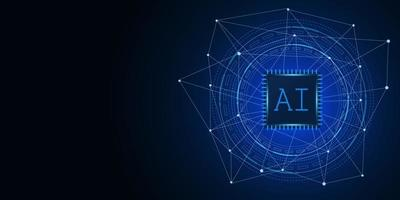 Artificial Intelligence ,AI chipset on circuit board, futuristic Technology Concept vector