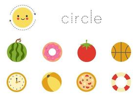 Learning basic geometric form for children. Cute circle. vector