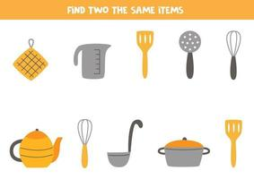 Find two identical kitchen elements. Educational game for preschool children vector