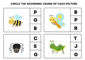 Worksheet for kids. Find the beginning sound. Cute insects. vector