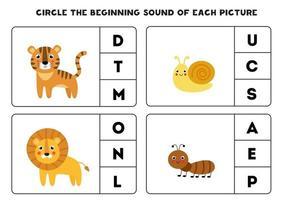 Worksheet for kids. Find the beginning sound. vector