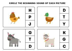 Worksheet for kids. Find the beginning sound. Cute farm animals. vector