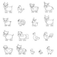 Set of black and white cute farm animals. Vector illustrations.