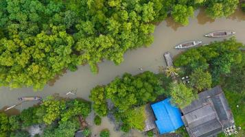 Aerial view fisherman boat in the countryside thailand photo