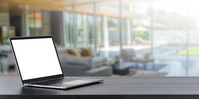 Laptop computer blank white screen photo