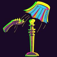 Vector art of an illustrated adage. hand throwing shade off of a lamp. Conceptual drawing of a home illuminated decor object glowing under neon lights
