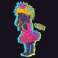 Cute illustration of a small cute neon baby with an expensive price tag. Adorable little girl in a princess tutu glowing in the night under UV lights. vector