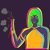 Talk to my hand vector. Illustration of a neon woman glowing in the dark under UV light ignoring everyone and stoping negativity. Drag queen with green hair blocking the haters. vector